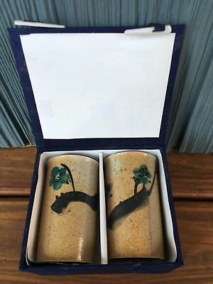 Vtg Hand Painted Japanese Ceramic Cups In Original Box