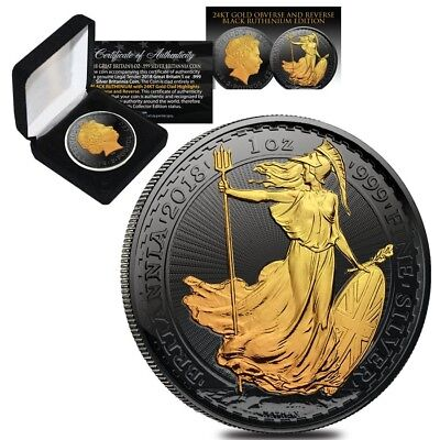 2018 Great Britain 1 oz Silver Britannia Coin .999 Fine Black Ruthenium 24K Gold