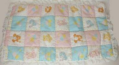 Vintage Care Bear Bears Quilted Crib Baby Blanket Doll Bed Blanket Fabric 1980s
