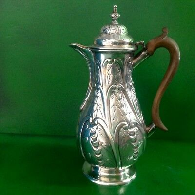 Isaac Cookson Newcastle Georgian Antique English Sterling Silver Coffee Pot 1732