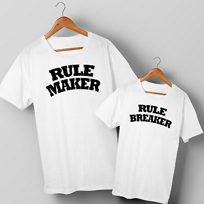 Rule Maker & Rule Breaker - Dad & Son or Daughter Matching T-shirts