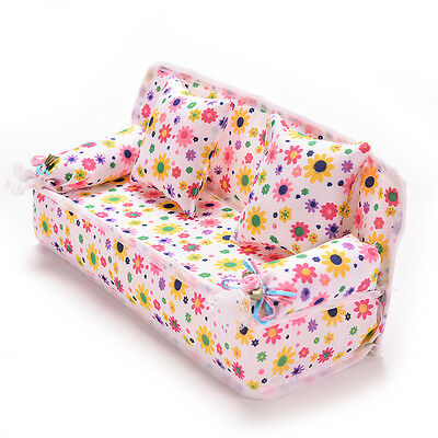 Mini Furniture Sofa Couch +2 Cushions For  Doll House Accessories FO