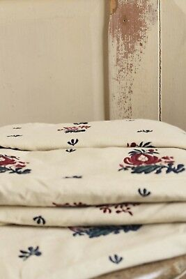 Vintage Floral Embroidered Fabric Cotton Cushion Remnant 17th Century STYLE