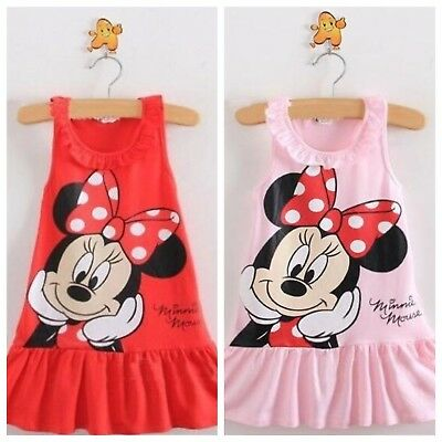 Wholesale Job Lot 40 x NEW MINNIE MOUSE Sleeveless Pink & Red Summer Dresses