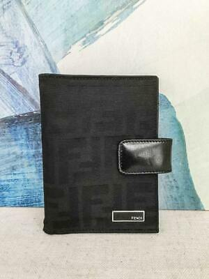 $450 FENDI Black Canvas Agenda Organizer Zucca Print Leather Trim Snap Cover
