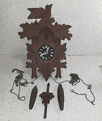Vintage German Black Forest Cuckoo Clock CHAIN Pendulum ACORN WEIGHTS CooCoo