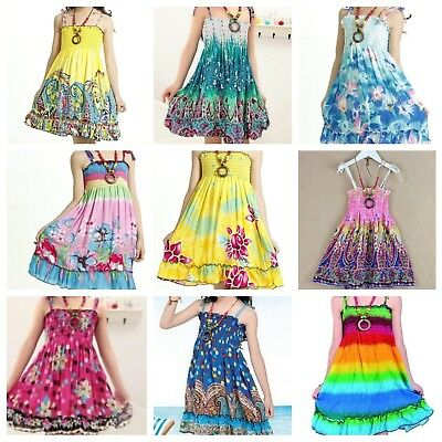 Wholesale Lot 50 x NWT Girls Bohemian Style Summer Dresses each w/FREE Necklace