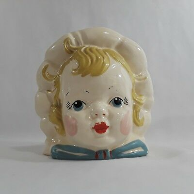 VINTAGE HULL BABY PLANTER USA 62 Baby with Bonnet Head Vase HAND PAINTED Antique