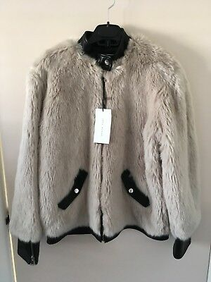 4281d608 BNWT ZARA Ice Off White Faux Fur Bomber Jacket Coat with Faux Leather Size L