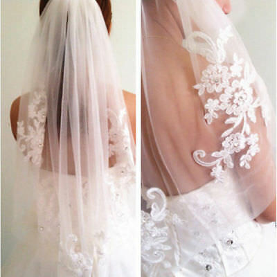 1 T White/Ivory Wedding Bridal Veil With Comb Lace Crystal Elbow length