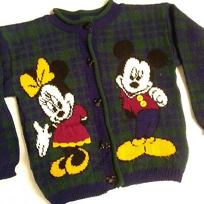 Mickey for Kids Vintage Cardigan Sweater 6x boy girl Disney Mouse blue buttons