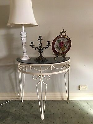 Vintage Wrought Iron Half Round Table  French Provincial Decor Inside/outside.
