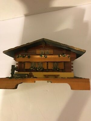 Vintage Antique Swiss or Germany Wooden Music Box House Cottage Trinket