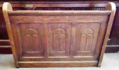 Antique Wooden Church Pew Front w/ Carved Arches On Front MIssal Rack on Back