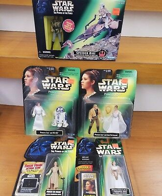 LOT of 5 Star Wars POTF Princess Leia action figures R2D2 Luke speeder bike