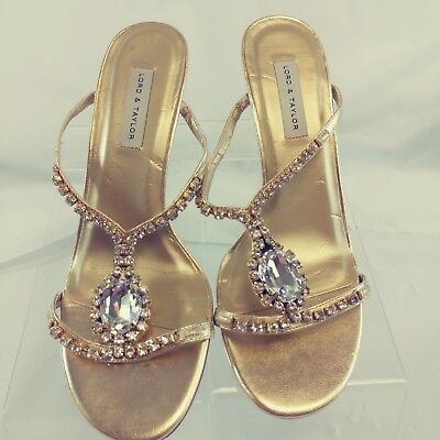 041f30fc0b4 Lord   Taylor Womens Shoes Gold Leather Sandals Size 7M Crystals MSRP  86
