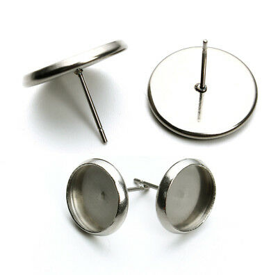 50pcs/lot Stainless Steel Earring Blank Base Trays Fit 8/10/12/14/16mm Cabochon