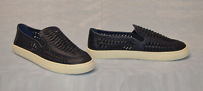43294767214f D0 NEW TORY BURCH Huarache Navy Woven Leather Slip-On Sneakers Shoes Size 9   250