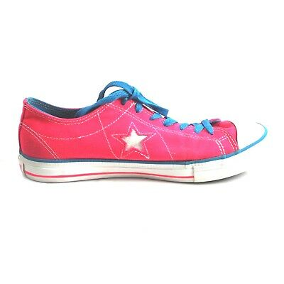 Converse One Star Size 9.5 Hot Pink Blue Shoes Canvas Lo Tops Sneakers Bright