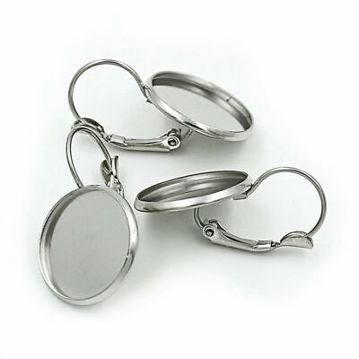10pcs/lot Stainless Steel French Earring Blank Tray Cabochon Setting Jewelry