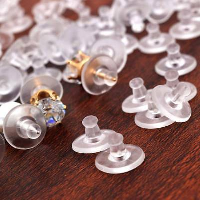 100pcs/lot Rubber Back Silicone Round Ear Plugging Blocked Earring Back Stoppers
