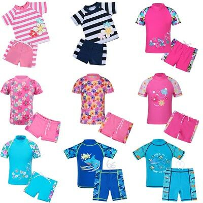 2-12Y Girls Boys Swimsuit 2 PCS UV+50 Kid Baby Swimwear Bathing Swimming Suit