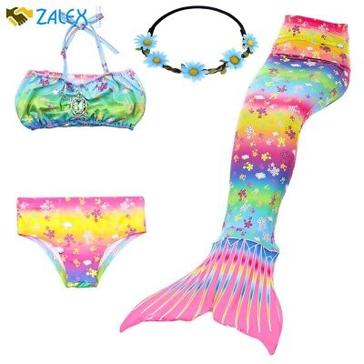 Girl Mermaid Tail Swimmable Princess Bikini Set Swimsuit Costume Pool Party New