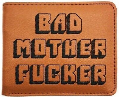 Pulp Fiction BMF Bad Mother Brown Embroidered Leather Bifold Slim Wallet