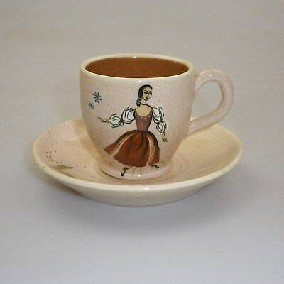 Martin  Boyd Handpainted Cup And Saucer  Decorated  With  A Dancer