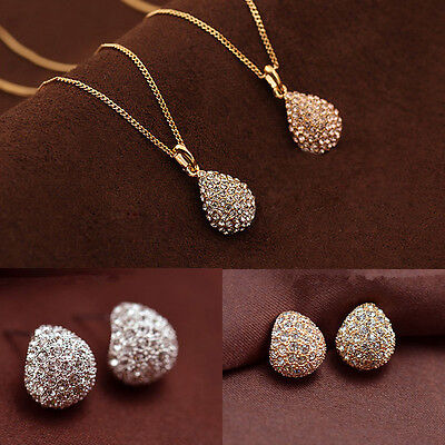 Women Lady Rhinestone Crystal Necklace Pendant Earrings Fashion Jewelry Set Gift
