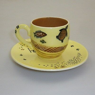 Martin  Boyd Handpainted Cup And Saucer  Decorated  Indigenous Motifs