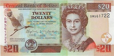 "Belize, 2012 20 Dollars P72  ((Unc)) ""Comm. 30th Central Bank Anniversary"""