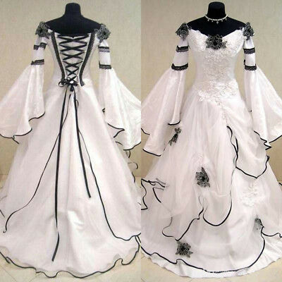 Vintage Gothic Wedding Dress Bell Long Sleeves Lace Formal Long Bridal Ball Gown