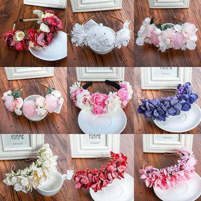 Bride Boho Floral Crown Pearl Lace Flower Headband Hairband Wedding Hair Garland