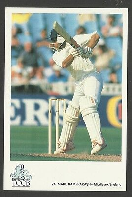 MARK RAMPRAKASH (ENGLAND) OFFICIAL TCCB CRICKET POSTCARD No. 24