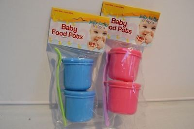 24 x Baby Food Pots and Spoon twin Packs BPA Free Mix Col 224ml Wholesale Lot