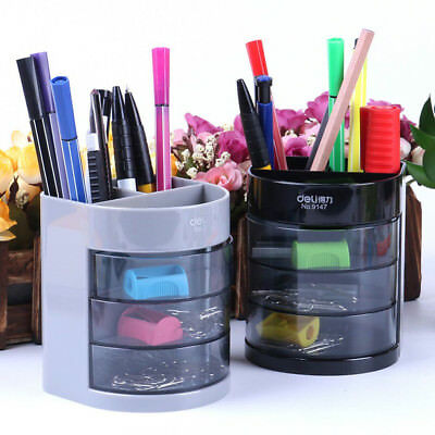 Office Desk Desktop Pen Pencil Holder Container Storage Box 3 Drawers OrganiSer