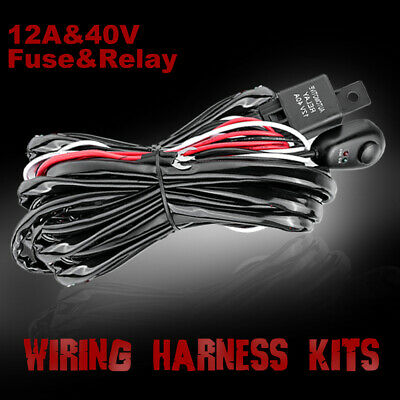 12V Wiring Loom Harness Kit Relay Fuse with Switch For LED Light Bar Waterproof