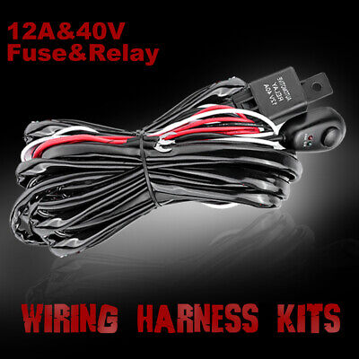 Wiring Loom Harness Kit Relay Fuse ON/OFF Switch For LED Light Bar Waterproof
