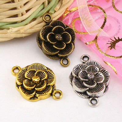 4Pcs Tibetan Silver,Gold,Bronze Flower Connectors Charm Pendants M1300