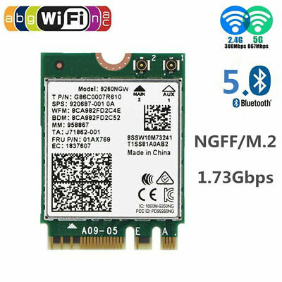 For Intel 9260NGW M.2 NGFF Bluetooth 5.0 Wireless Wifi Card Dual Band 2.4/5Ghz