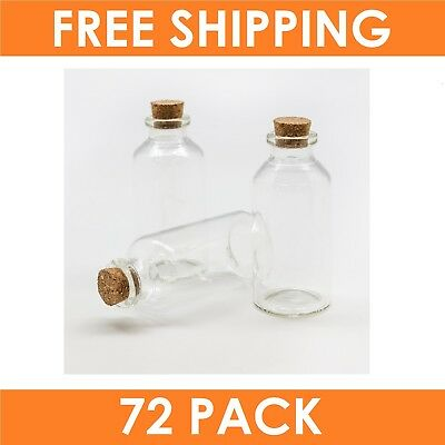 72 x Small Mini 30ml Craft Glass Vial Jars Bottles Containers with Cork Stopper