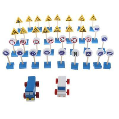 Pack of 32pcs Wooden Traffic Signs & Truck Set Kids/Baby Early Learning Toy
