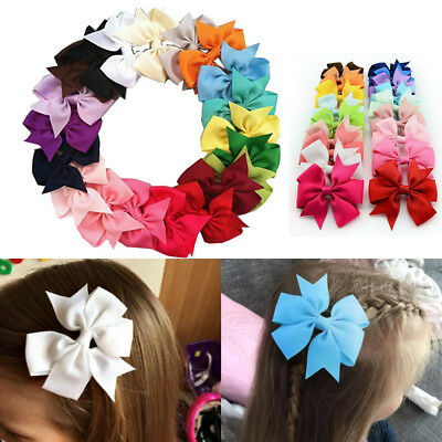"20/40Pcs 3"" Baby Girls Grosgrain Ribbon Boutique Hair Bows For Teens Toddlers US"