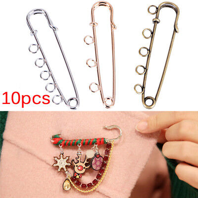 10PCS Hole Brooch Handmade Pins Brooches Crafts DIY Jewelry Making Accessor GT