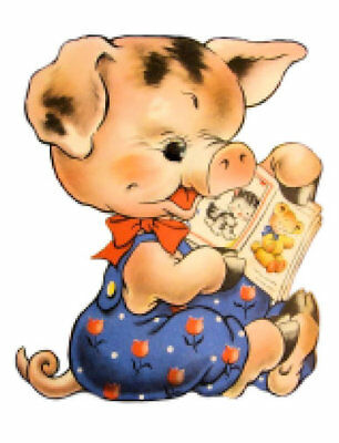 Vintage Image Shabby Retro Reading Baby Piggy Pig Waterslide Decals AN756