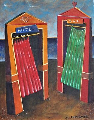 "Dimitris C. Milionis ""HOTEL & BAR"" Small Acrylic Painting Signed Greek 2003"