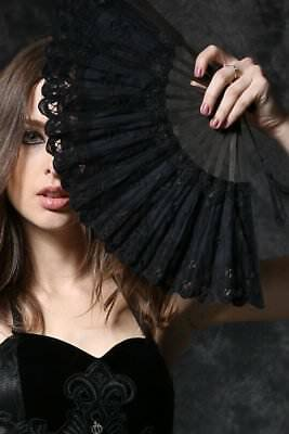 Black Lace Fan - Folding Hand Held Dance Party Wedding Events Flower Fan