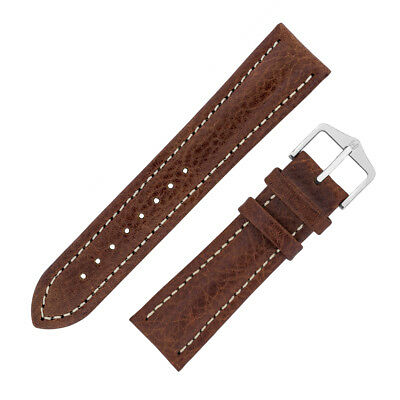Hirsch Genuine BUFFALO Calf Leather Watch Strap and Buckle in BROWN