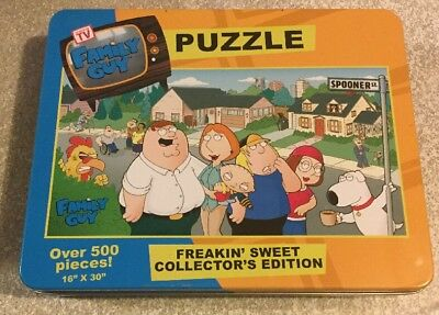 "Family Guy Freakin Sweet Collectors Edition Puzzle Tin 500 pcs 16""x30"""